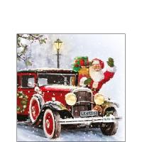 Napkins 25x25 cm - Santa Automobile
