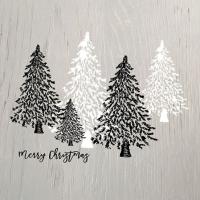 Servietten 25x25 cm - Holzbäume Grau