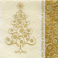 Lunch napkins SNOWCRYSTALS TREE GOLD