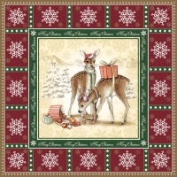 Lunch napkins DEER BOY RED