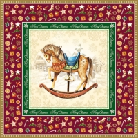 Napkins 33x33 cm - Rocking Horse Red