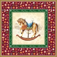 Serwetki 33x33 cm - Rocking koń czerwony