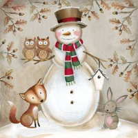 Serviettes lunch Woodland Snowman
