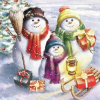 Serviettes lunch Snowmen Family