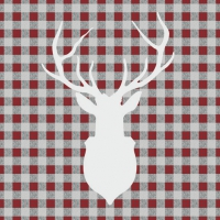 Lunch napkins Deer Outline Red