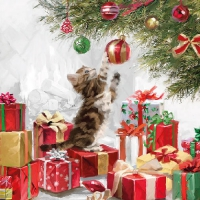 Serviettes lunch Kitten and Baubles