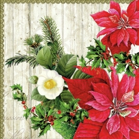Servilletas Lunch Poinsettia On Wood