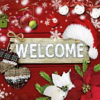 Lunch napkins Welcome Santa Red