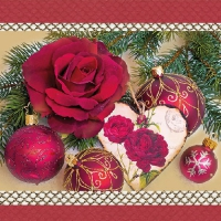 Lunch napkins Romantic Rose Red
