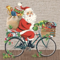Serviettes lunch Santa On Bike