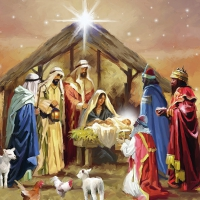 Serviettes lunch Nativity Collage