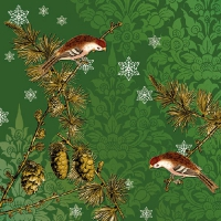 Serviettes lunch Pinecone Ornaments Green