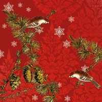 Lunch napkins Pinecone Ornaments Red