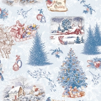Serviettes lunch Nostalgic Christmas Blue