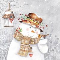 Lunch Servietten Snowman Holding Robin