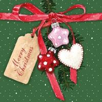 Serviettes de table 33x33 cm - Étiquette de Noël Vert