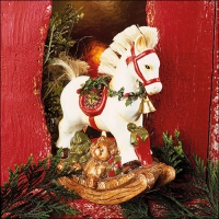 Napkins 33x33 cm - White Rocking Horse