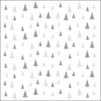 Servietten 33x33 cm - Bäume überall auf Grau/Silber