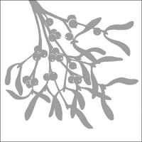 Servietten 33x33 cm - Mistel Silhouette Silber