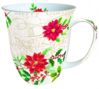 taza de la porcelana Pointsettie Cream