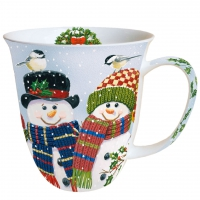 taza de la porcelana Snowman Couple