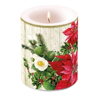 Candles Poinsettia On Wood