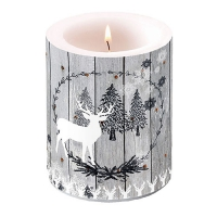 Candles Wooden Scene Grey