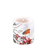 Candles small Robin In Snow