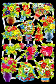 Glanzbilder mit Glimmer Blumen/Vase,50er Jahre