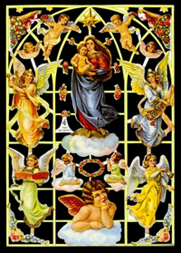 Glanzbilder mit Glimmer Engelfenster,50er Jahre