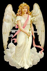 Scrap reliefs with glimmer großer weißer Engel