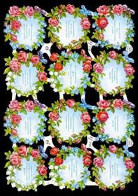 Glanzbilder mit Glimmer 12 Blumenkränze+Text
