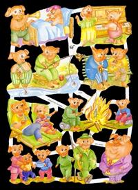 Glanzbilder mit Glimmer spielende Schweine