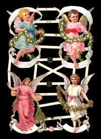 Scrap reliefs avec le mica 4 Engel mit Blumen