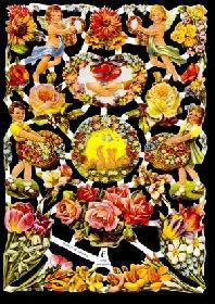 Glanzbilder Blumen/Kinder,50er Jahre