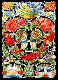 Glanzbilder Blumenherz,50er Jahre