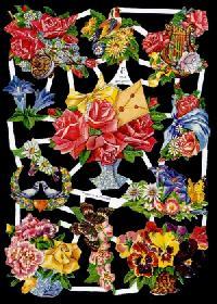 Scrap reliefs Blumen 50er Jahre