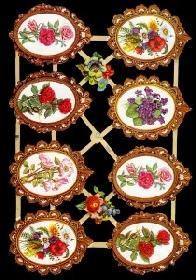 Glanzbilder 8 Blumen im Rahmen
