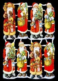 Glanzbilder 8 Weihnachtsmänner,50er J.