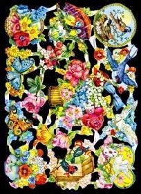 Glanzbilder Vögel/Blumen.50er Jahre