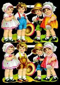 Glanzbilder 4 Kinderpaare,50er Jahre