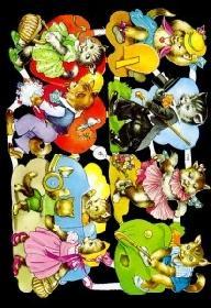 Glanzbilder Comic Katzen,50er Jahre