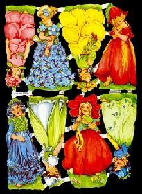Glanzbilder 8 Blumenmädchen,50er J.