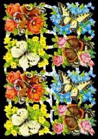 Glanzbilder 8 Schmetterlinge,50er Jahre