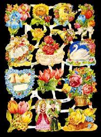 Glanzbilder mit Glimmer Blumen&Tiere,50er Jahre
