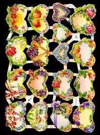 Glanzbilder 17 Herzen mit Blumen,50er J.
