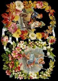Glanzbilder 2 Kinder im Blumenkranz