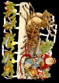 Glanzbilder Weihnachtsmann mit Schlitten