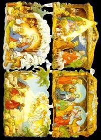Glanzbilder mit Gold-Glimmer 4x Weihnachts Krippe
