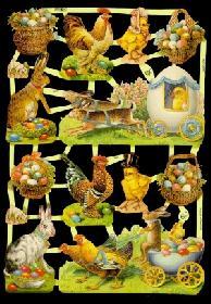 Glanzbilder mit Glimmer Ostern,50er Jahre